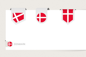 Wall Mural - Label flag collection of Denmark in different shape. Ribbon flag template of Denmark