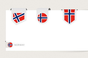 Wall Mural - Label flag collection of Norway in different shape. Ribbon flag template of Norway