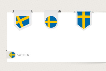 Wall Mural - Label flag collection of Sweden in different shape. Ribbon flag template of Sweden