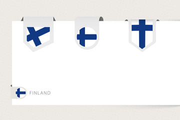 Wall Mural - Label flag collection of Finland in different shape. Ribbon flag template of Finland