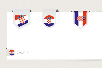 Wall Mural - Label flag collection of Croatia in different shape. Ribbon flag template of Croatia