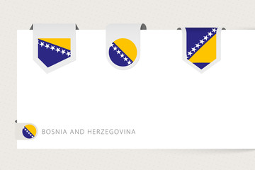 Wall Mural - Label flag collection of Bosnia and Herzegovina in different shape. Ribbon flag template of Bosnia