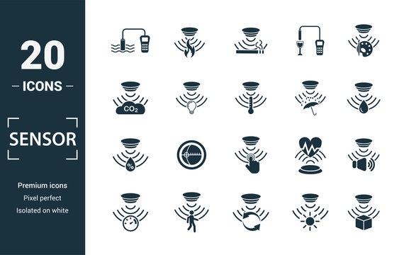 Sensor icon set. Include creative elements water quality sensor, smoke detector, gas, rain sensor, humidity sensor icons. Can be used for report, presentation, diagram, web design