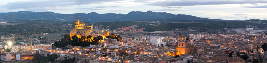 Photo sur Toile Con. Antique Panorama of Caravaca De La Cruz cityscape and castle, Pilgrimage site near Murcia, in Spain. One of the 5 holy cities in the world.
