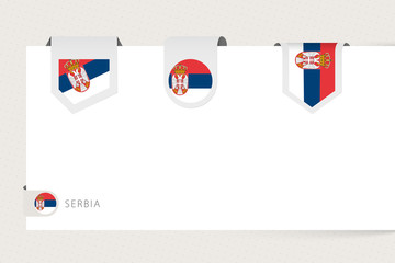 Wall Mural - Label flag collection of Serbia in different shape. Ribbon flag template of Serbia