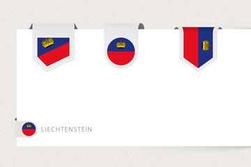 Wall Mural - Label flag collection of Liechtenstein in different shape. Ribbon flag template of Liechtenstein