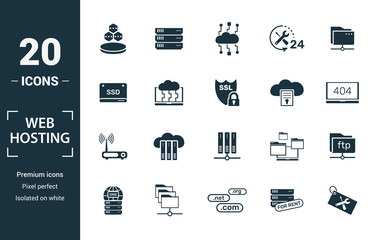 Web Hosting icon set. Include creative elements data structure, cloud technology, ssd, file access, modem icons. Can be used for report, presentation, diagram, web design