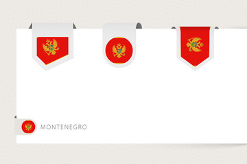 Wall Mural - Label flag collection of Montenegro in different shape. Ribbon flag template of Montenegro