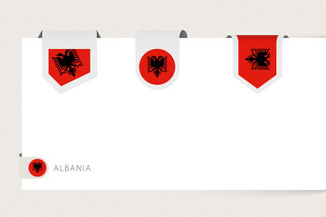 Wall Mural - Label flag collection of Albania in different shape. Ribbon flag template of Albania