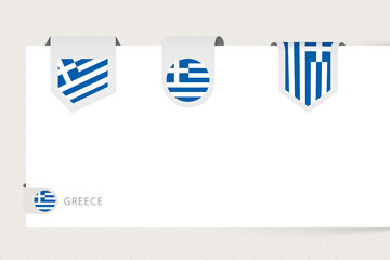Wall Mural - Label flag collection of Greece in different shape. Ribbon flag template of Greece