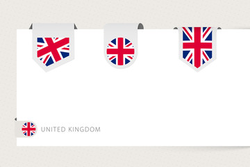 Wall Mural - Label flag collection of United Kingdom in different shape. Ribbon flag template of UK