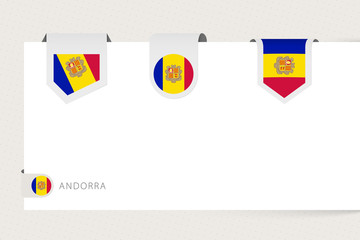 Wall Mural - Label flag collection of Andorra in different shape. Ribbon flag template of Andorra