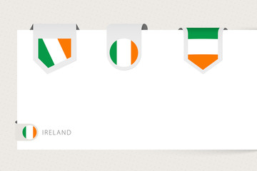 Wall Mural - Label flag collection of Ireland in different shape. Ribbon flag template of Ireland