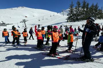 Children learn how to ski at Mzaar Ski Resort in Kfardebian