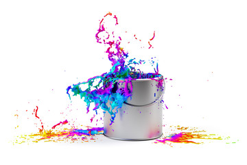 Rainbow colored paint splashing from silver shiny paint bucket on to white background