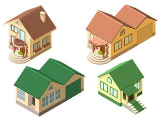 Isometric cottage country house set isolated on white illustration