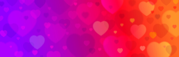 Wall Mural - Purple banner with valentines hearts. Valentines greeting banner. Horizontal holiday background, headers, posters, cards, website. Vector illustration