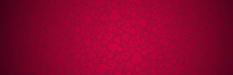 Red banner with valentines hearts and keys. Valentines greeting banner. Horizontal holiday background, headers, posters, cards, website. Vector illustration