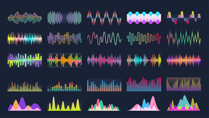 In de dag Abstract wave Sound of wave vector cartoon set icon.Illustration isolated of cartoon icon music waveform . Vector illustration set sound of wave.