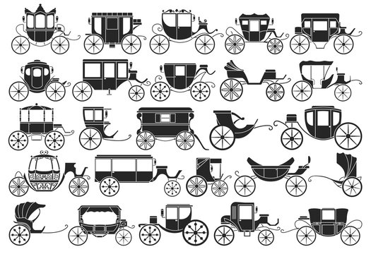Vintage carriage vector black,simple set icon. Vector illustration set cart for princess. Isolated black,simple icon transport of vintage carriage on white background .