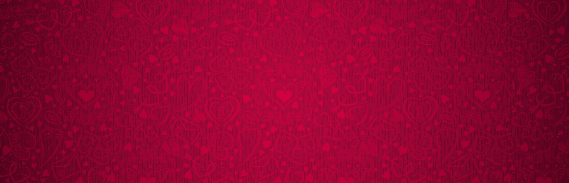 Red banner with valentines hearts. Valentines greeting banner. Horizontal holiday background, headers, posters, cards, website. Vector illustration