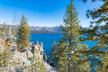 The Lake Tahoe in Nevada and California, panorama of the bay in winter, a house with a beautiful view