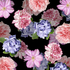 Wall Mural - Beautiful floral background of carnation, clematis and hyacinth. Isolated
