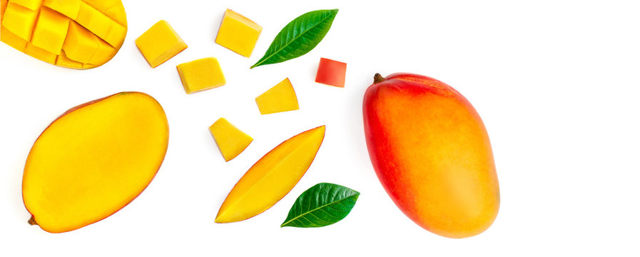 Seamless pattern with mango fruit with pieces. Tropical Mango isolated on the white background.  Top view. Flat lay.