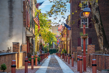 The historic Old City in Philadelphia, Pennsylvania. Elfreth's Alley