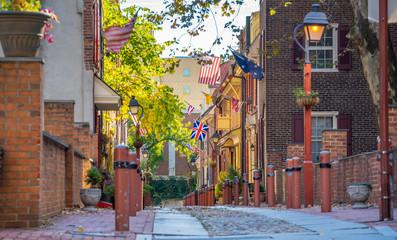 The historic Old City in Philadelphia, Pennsylvania. Elfreth's Alley Fotomurales