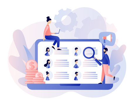 Job hiring and job search concept. Headhunting. Tiny people interviewed for job. We are Hiring. Modern flat cartoon style. Vector illustration on white background