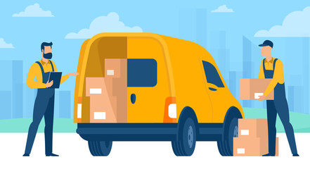 Fast delivery service. Flet design vector concept of online retail and store delivery for mobile apps and websites with delivery car and stuff.