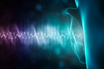 soundwave and equalizer bars with human ear. 3d rendering illustration with copy space. Sense of hearing, sound and music graphic concepts. Fototapete