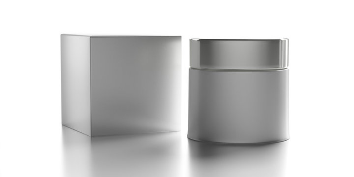Glass cosmetic jar with silver cover and package box isolated against white background. 3d illustration