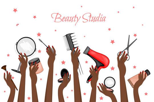Black female hands holding makeup items. Cartoon style. Vector illustration.