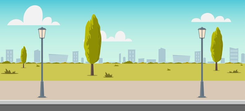 Road empty city street. Empty street or alley in a city park. Street on a Sunny summer day. Flat Vector Illustration, background for an animated video, footage.