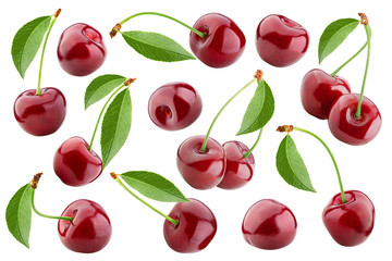Foto auf Leinwand Kirschblüte cherry isolated on white background, full depth of field, clipping path