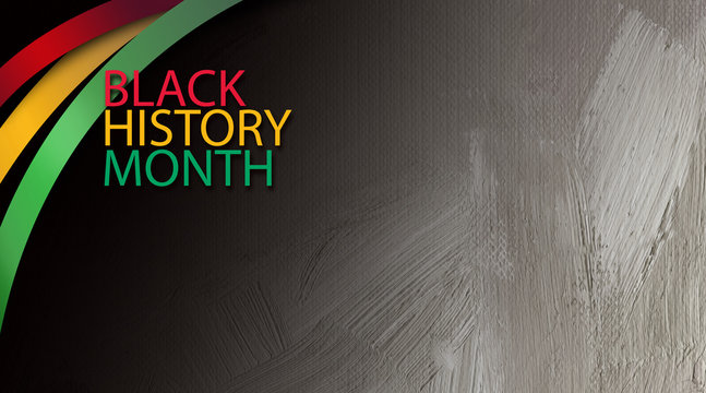 Black History Month title treatment with ribbons graphic background