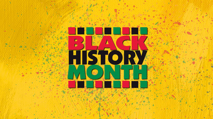 Black History Month title treatment against yellow gold grunge graphic background