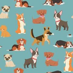 Chiens et chiots de différentes races papier d& 39 emballage avec husky, bouledogue, schnuzer, illustration de modèle sans couture de vecteur épagneul. Fond de chiens animaux de compagnie de dessin animé.