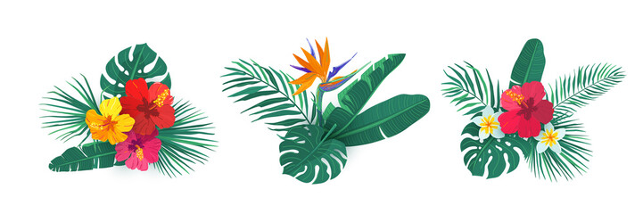 Tropical hawaii flower bouquet vector set. Composition with exotic plants in simple flat style for summer print design. Tropic element isolated on white background Wall mural