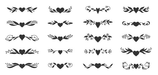 heart floral wing divider love tattoo border