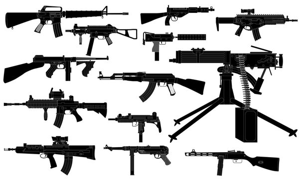 Machine guns set, black isolated silhouette, vector
