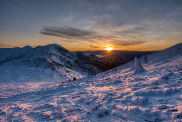 majestic sunset in the winter mountains landscape , slovakia mala fatra