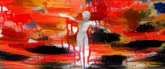 Women statue. Modern abstract painting in vivid colors