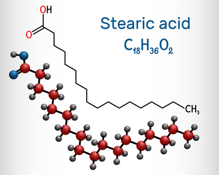 Stearic acid,  octadecanoic, saturated fatty acid molecule. Structural chemical formula and molecule model