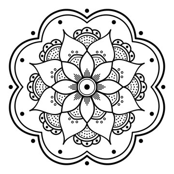 Mandala decorative round ornament. Can be used for greeting card, phone case print, etc. Hand drawn background, vector isolated on white. EPS 10
