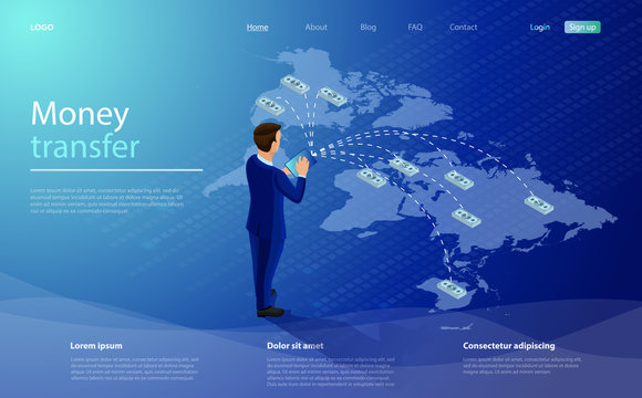 Online money transfer concept. Businessman transfers money through a mobile app anywhere in the world. Mobile money transfer isometric vector illustration. Global payment system. Online banking.