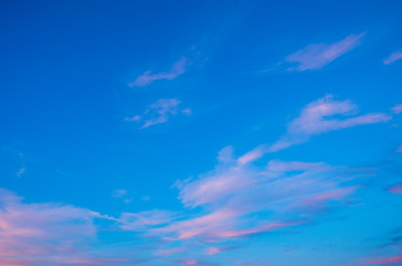 Wall Mural - Sunset sky with pink clouds