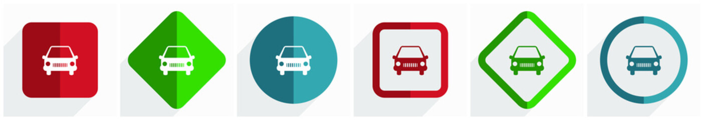 Fotomurales - Car icon set, flat design vector illustration in 6 options for webdesign and mobile applications in eps 10